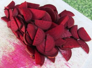 Our beets are so vibrant this time of year! Look closely at your food and see the beauty can be so easily overlooked. Finding joy in seemingly mundane tasks can lead to a huge quality of life increase. Check out the deep velvety rings in these beets!